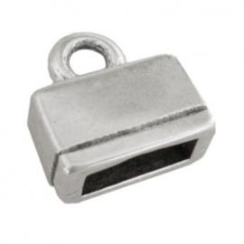 DQ eindkapje voor 10mm plat leer antiekzilver mf6926