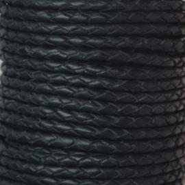 DQ Leer rond gevlochten 3mm zwart
