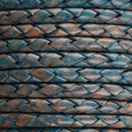 DQ Leer rond gevlochten 3mm vintage dark turquoise