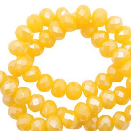 Top facet 4x3mm rondel freesia golden yellow opal-pearl shine coating 60535
