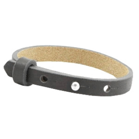 Cuoio armband 8mm leer lava grey 46942