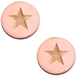 Cabochon plat 12mm hout pink star 42021
