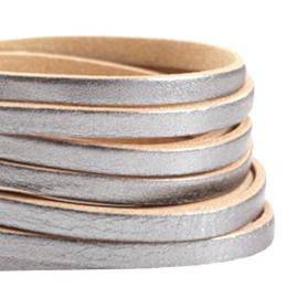 DQ Leer plat 5mm antiek zilver-beige 32420