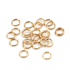 RVS ringetje gold plated 6x0,8mm, 10 stuks