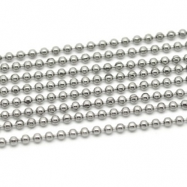RVS Ball chain ketting 2,4mm, 100cm Y1402