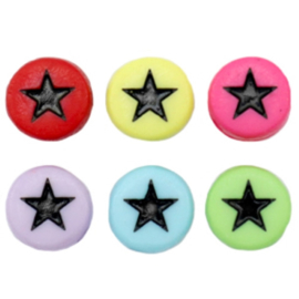 """Letterkraal """"ster"""" acryl plat rond 7mm multicolor 5 stuks"""