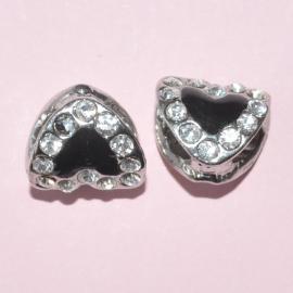 Pandora Style metalen kraal hartje met strass 13x10mm zwart