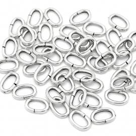 DQ ovaal ringetje 8x5,5mm 10 stuks antiek zilver mf8799