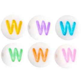 """Letterkraal """"W"""" acryl plat rond 7mm multicolor-wit"""