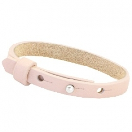 Cuoio armband 8mm leer soft rose quartz 35345
