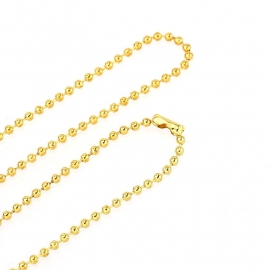 Ball chain ketting 2mm gold plated, 80cm, met slotje B31373