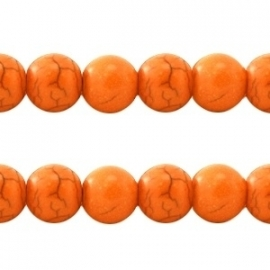 Turquoise Keramiek kralen rond 10mm oranje