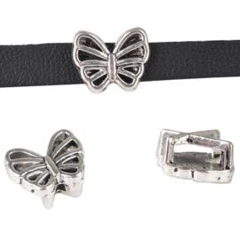 Leerschuiver vlinder voor 6mm antiekzilver metaal D20909