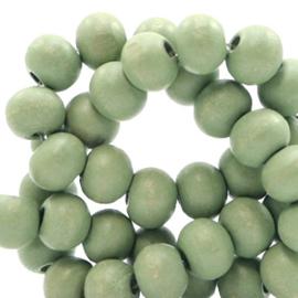 Houten kralen 6mm light green 50159 10 stuks