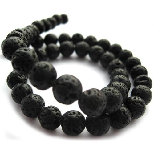 Lava steen 12mm rond zwart