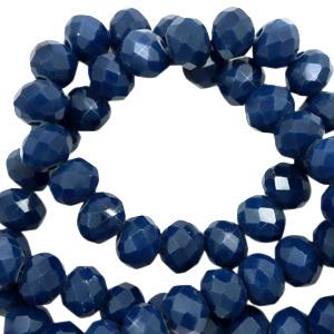 Top facet 6x4mm rondel ensign blue pearl shine coating 65568