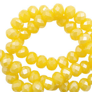 Top facet 6x4mm rondel golden yellow-pearl shine coating 60534