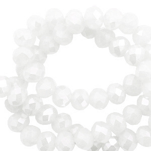 Top facet 6x4mm rondel white-pearl shine coating 60992