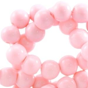 Glaskraal opaque 6mm roze 10 stuks 23914