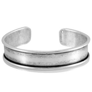DQ basis armband metaal voor 10mm leer antiek zilver