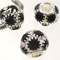 Pandora Style metalen kraal met strass 13x11mm zilver met zwart