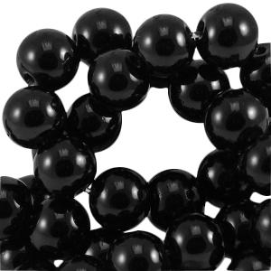 Glaskraal opaque 6mm black 32740 10 stuks