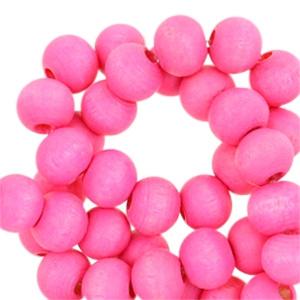Houten kralen 6mm fuchsia pink 43484 10 stuks