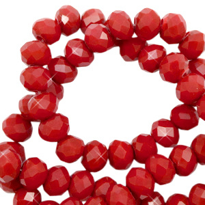 Top facet 6x4mm rondel maroon red pearl shine coating 65596