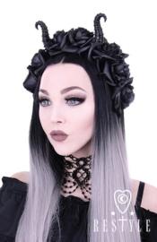 HB03 - Gothic / Fantasy hoofdtooi met hoorntjes en rozen