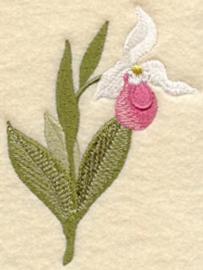Handdoek of Gastendoekje met Venusschoentje (Lady's Slipper)