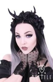 HB02 - Gothic / Fantasy hoofdtooi met gewei en orchideeen