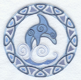 Handdoek of Baddoek met Celtic Circle - Dolphin