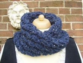 CO02 - Cowl in Outlander stijl - donkerblauwe tweed