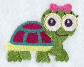 Baby badcape met roze Schildpad - GO05