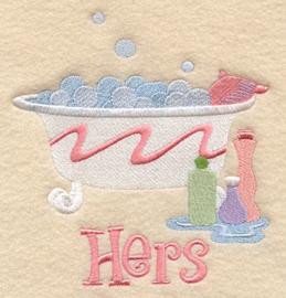 """Handdoek met Wastobbe - """"Hers"""""""