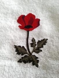 Handdoek of Gastendoekje met Klaproos (Poppy)