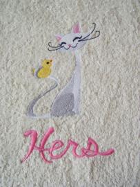 """Handdoek met Kat - """"Hers"""""""