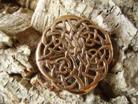 BR02 - Ronde Keltische knoop broche van brons