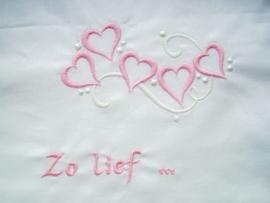 """Wieglakentje """"Zo Lief"""" in roze"""