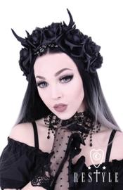 HB01 - Gothic / Fantasy hoofdtooi met gewei en rozen - UITVERKOCHT