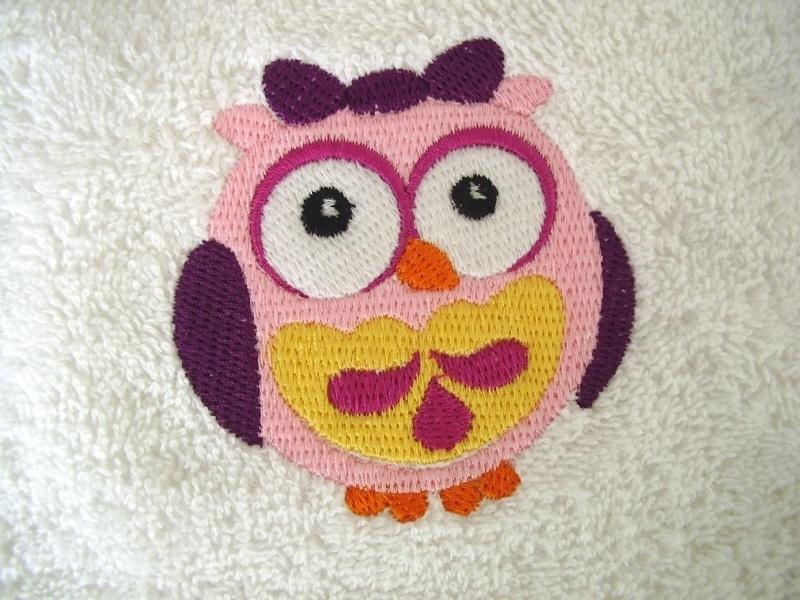 Baby badcape met roze Uil - GO03