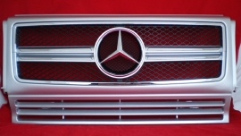 Mercedes W463 Grill G Klasse 013 AMG Look Grill BJ 1990-2012 Zilver/chroom