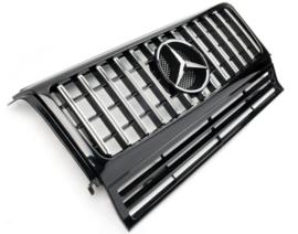 Mercedes W463 G Klasse  Panamericana GT AMG Look Grill Bumpergrill Koelergrill Bj 1990-2012 Zwart/Chroom
