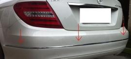 Mercedes W204 C Klasse Chromen lijsten voor de Achterbumper  vanaf 04-2011