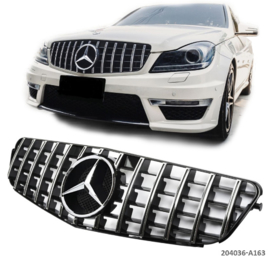Mercedes W204 C panamericana AMG  GT-R Look Grill SportgrilL Bumpergril  Koelergrill Zwart/Chroom