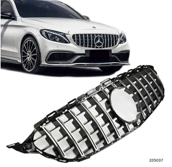 Mercedes W205 C63 AMG PANAMERICANA Grill Koelergrill Bumpergrill Sportgril Bj 2014-2018 Glanszwart/Chroom