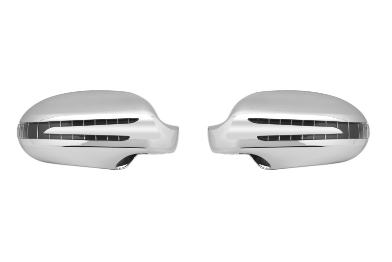 Mercedes W209 CLK AMG Look Spiegelkappen Upgrade V-led Chroom Bj 2002-2010