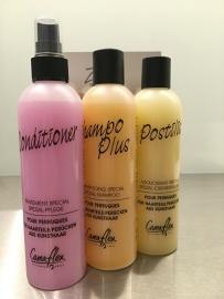 Camaflex,  shampoo haarwerken, balsem, conditioner, haarlak, pruik shampoo,verzorgingsproducten voor haarwerken en pruiken( synthetisch haar ) te koop online in onze webshop.