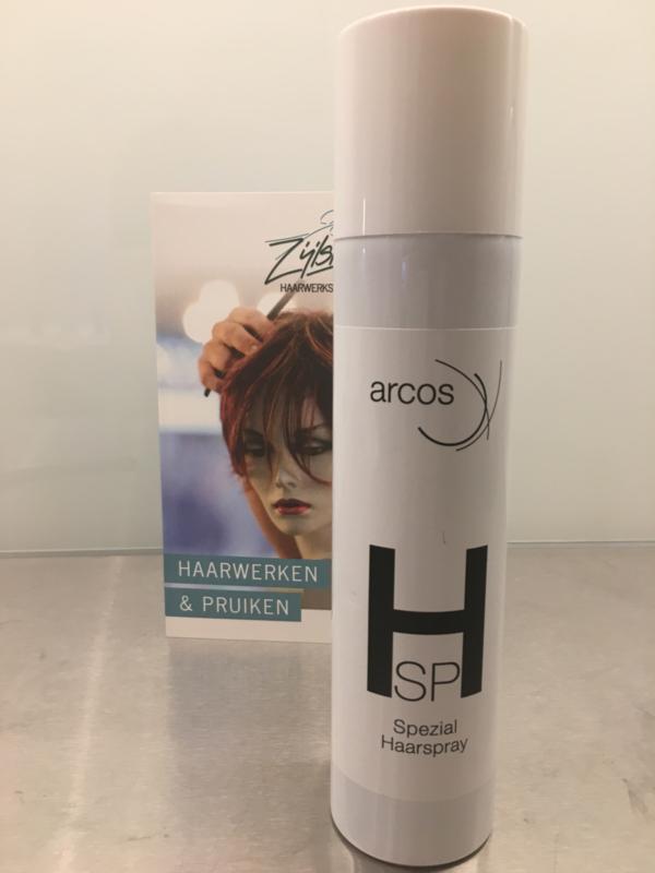 Arcos , special hairspray, haarlak voor echt haar en synthetische haarwerken en pruiken