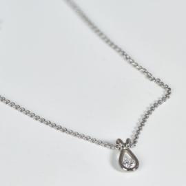 Witgouden diamant hanger in druppel vorm